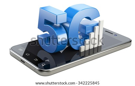 5G sign on smart phone screen. High speed mobile web technology. 3d illustration isolated on a white background. - stock photo