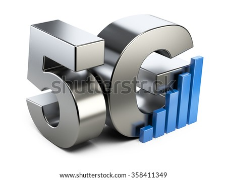 5G steel sign. High speed mobile web technology. 3d illustration isolated on a white background. - stock photo
