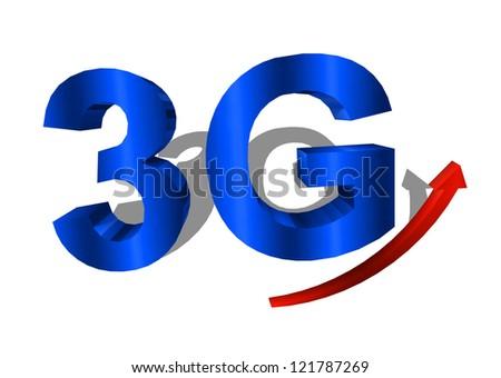 3G symbol on white background - stock photo
