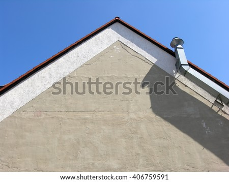 Gable sky blue and from below.       - stock photo