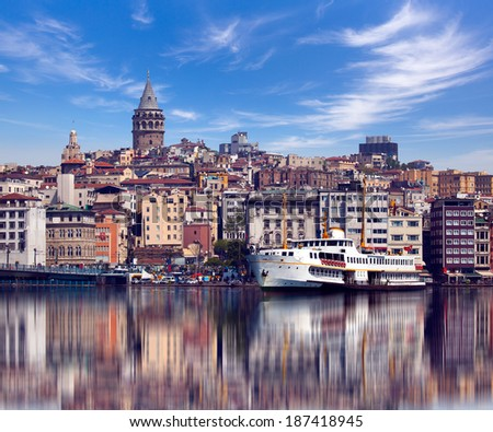 Galata tower medieval landmark in Istanbul, Turkey  - stock photo