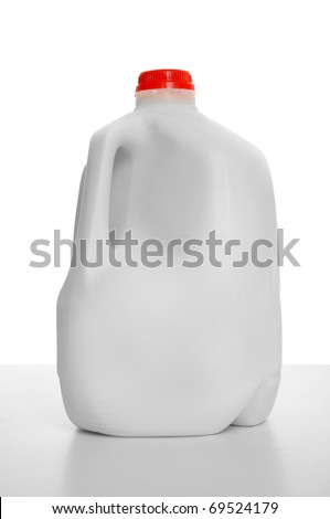 1 Gallon of Milk in a milk carton on a shiny table with white background. - stock photo