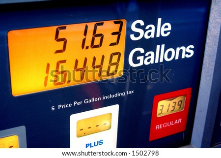 16.448 Gallons at 3.139 per gallon. Soaring gas prices. - stock photo