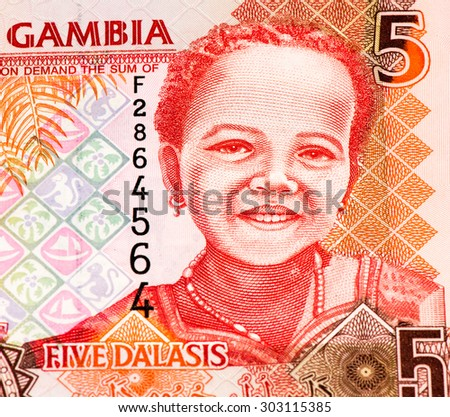 5 Gambian dalasi bank note. Gambian dalasi is the national currency of Gambia