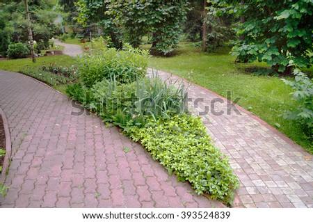Garden flower bed between path                               - stock photo