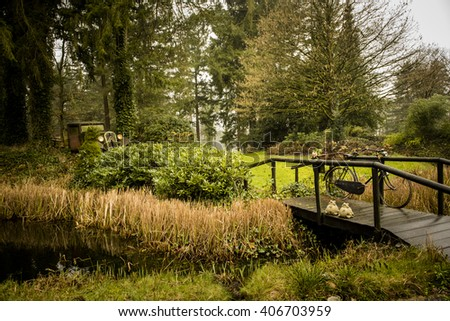 garden with small wooden bridge only for pedestrians