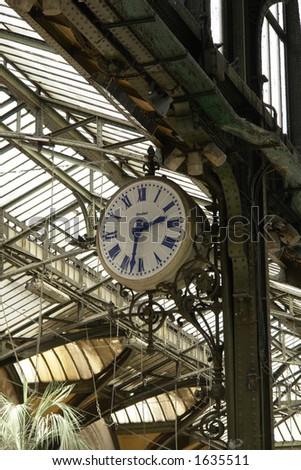 """Garre de lyon"", france. Old clock. - stock photo"