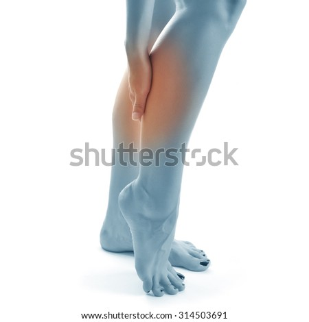 gastrocnemius, leg pain concept, female isolated on white - stock photo