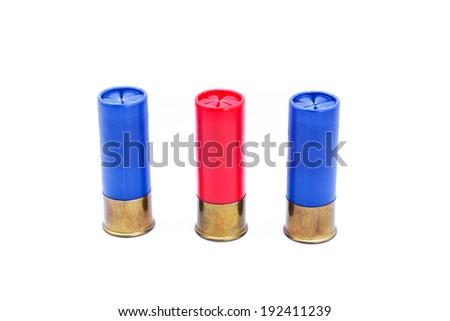 12 gauge shotgun shell on white background - stock photo