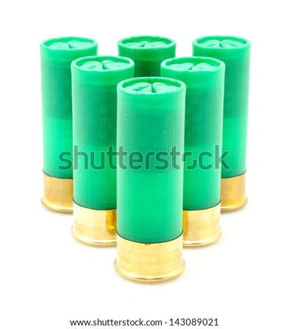 12 gauge shotgun shells used for hunting isolated on a white background.