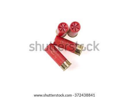 12 gauge shotgun shells used for hunting isolated on a white background - stock photo
