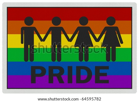 'Gay Pride' - photo realistic, reflective metallic sign, isolated on white - stock photo