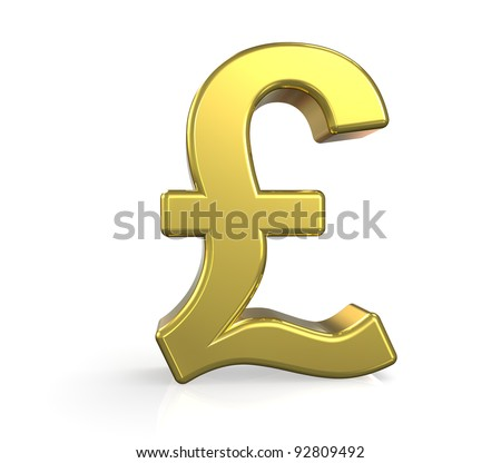 GBP. 3D British Pound symbol. Gold. Ground reflection