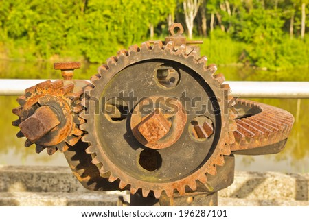 gear for open water gates  - stock photo