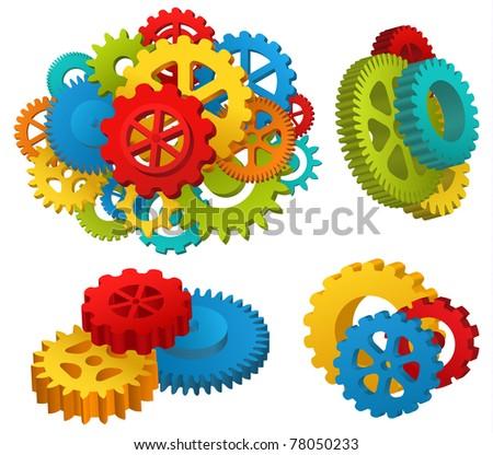 Gear mechanisms set - raster version - stock photo