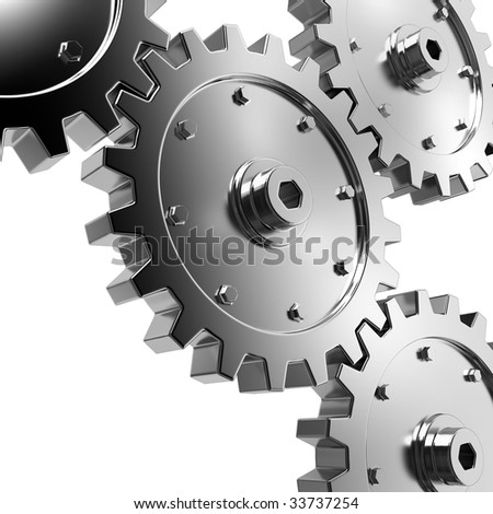 4 gears connected together. High resolution rendered. - stock photo