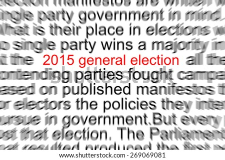 2015 General Election Written in a Newspaper  - stock photo