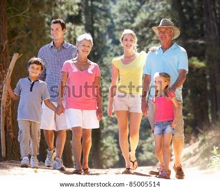 3 Generation family on country walk - stock photo