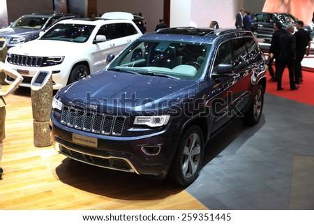 GENEVA, MARCH 3:A Jeep grand cherokee car on display at 85th international Geneva motor Show at Palexpo-Geneva on March 3, 2015 at Geneva, Switzerland.  - stock photo