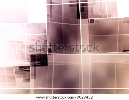 geometric square composition on white background - christian cross - stock photo