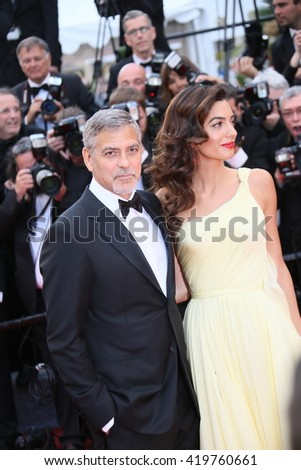 George Clooney  attends the 'Money Monster' Premiere during the 69th annual Cannes Film Festival on May 12, 2016 in Cannes, France. - stock photo
