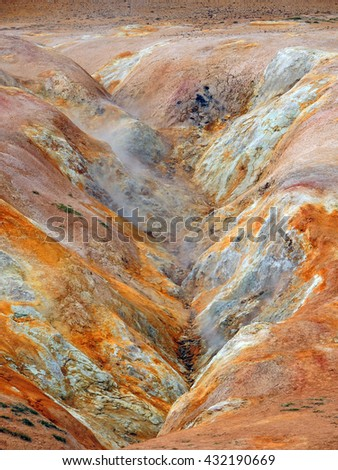 geothermal areas at lake myvatn, iceland                              - stock photo