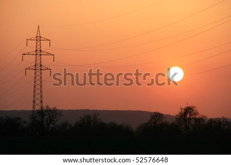 German landscape at sunset - stock photo
