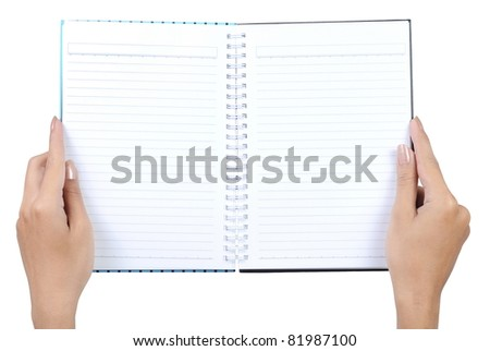 gesture of hand holding a book isolated over white background - stock photo