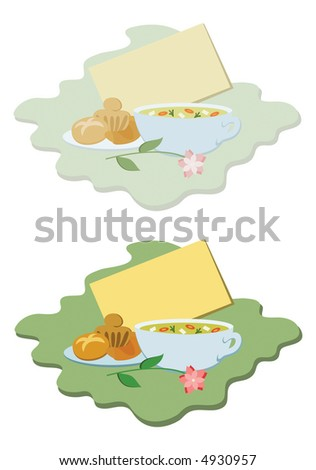 """Get well"" vignette with blank card, chicken soup and baked goodies, in pastel and bright coloured versions - stock photo"