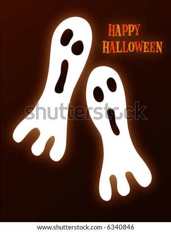 2 ghosts on a black background - stock photo