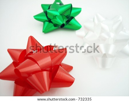 3 gift bow:  red, green, white.