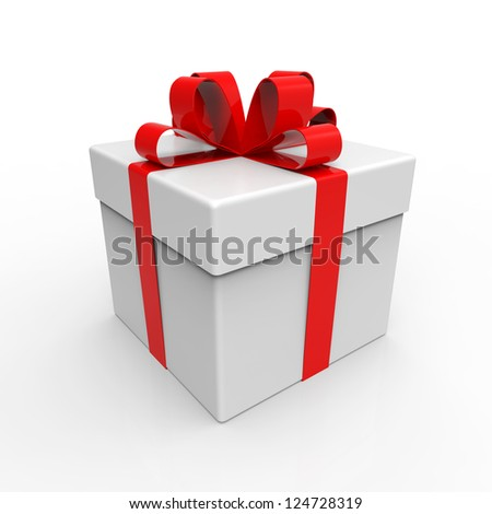 Gift Box with Red Ribbons - stock photo