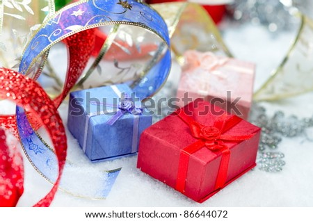 gift boxes and christmas decorations