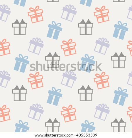 Gift pattern.Seamless pattern with present icons on a white background