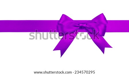 Gift purple  ribbon and bow isolated on white background. - stock photo