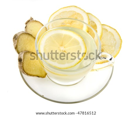 Ginger tea with lemon isolated over white background