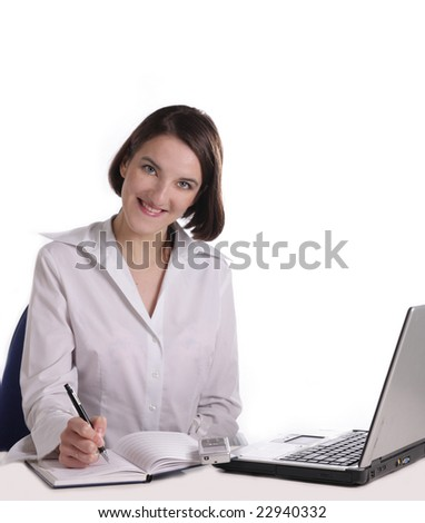 girl at office with a notebook and laptop on a white background