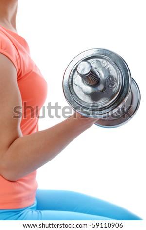 girl athlete dumbbell. Isolated on white background - stock photo