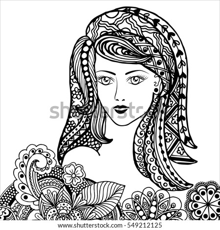 Hand Drawn Portrait Frida Kahlo Floral Stock Vector 513845890 ...