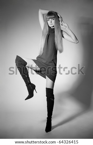 Girl in jackboots;