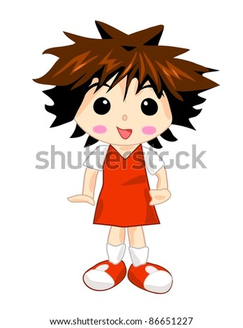 Girl in red school dress - stock photo