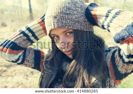 Girl in retro style - stock photo