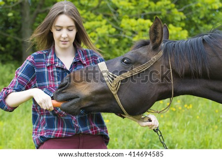 Girl is feeding her horse pet with carrot