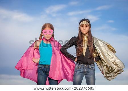 girl power, super heroes or superheroes - stock photo