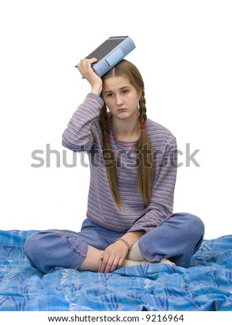 girl  read tired in bed