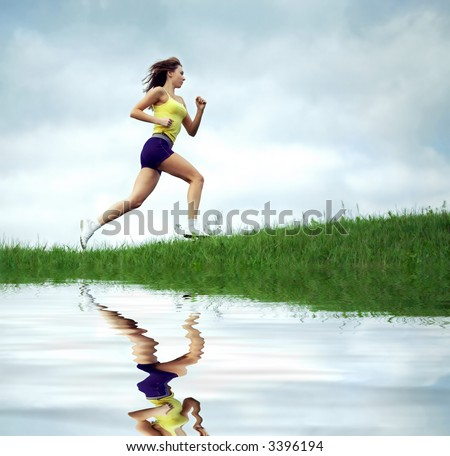 girl runs in the evening - stock photo