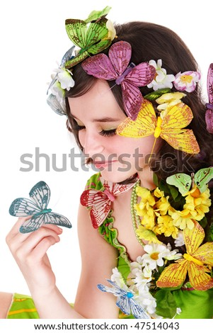 Girl with butterfly and flower on head. Spring hair. Isolated.