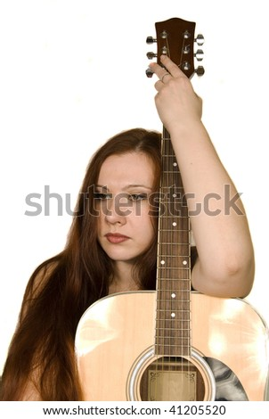 girl with guitar - stock photo