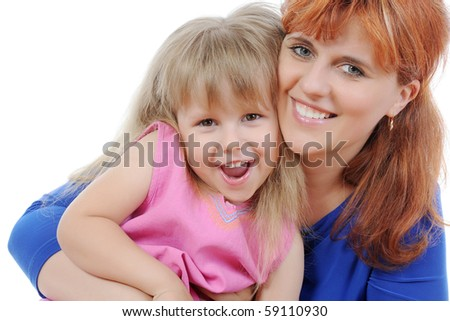 girl with her mother. Isolated on white background