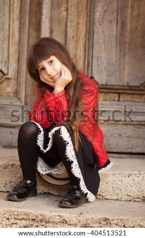 girl with long hair smiling - stock photo